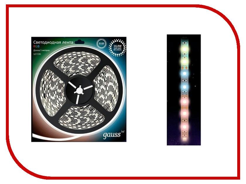 Светодиодная лента Gauss 5050/60-SMD LED 14.4W 12V DC 5m RGB EB312000414<br>