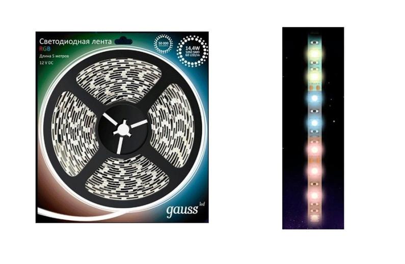 Светодиодная лента Gauss 5050/60-SMD LED 14.4W 12V DC 5m RGB EB312000414 / 312000414