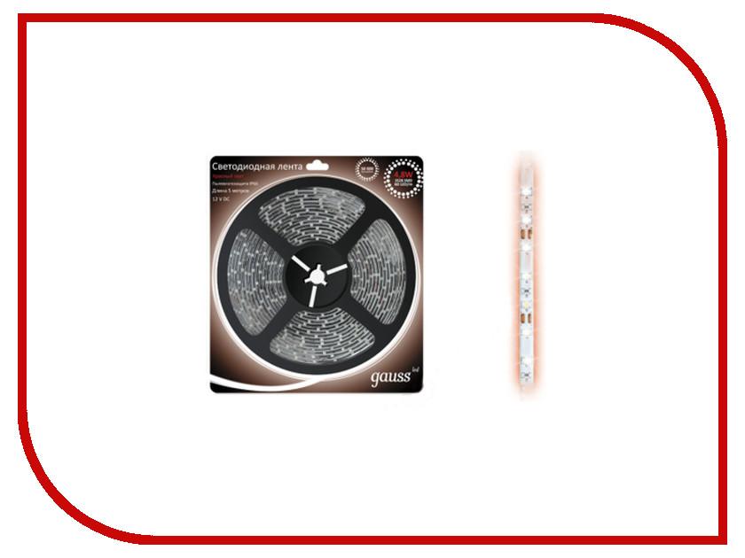 Светодиодная лента Gauss 3528/60-SMD 4.8W 12V DC 5m Red EB312000705 лента светодиодная gauss 312000107