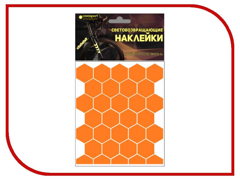 Светоотражатель Cova Sport Сота набор наклеек Orange 100x85mm 333-173