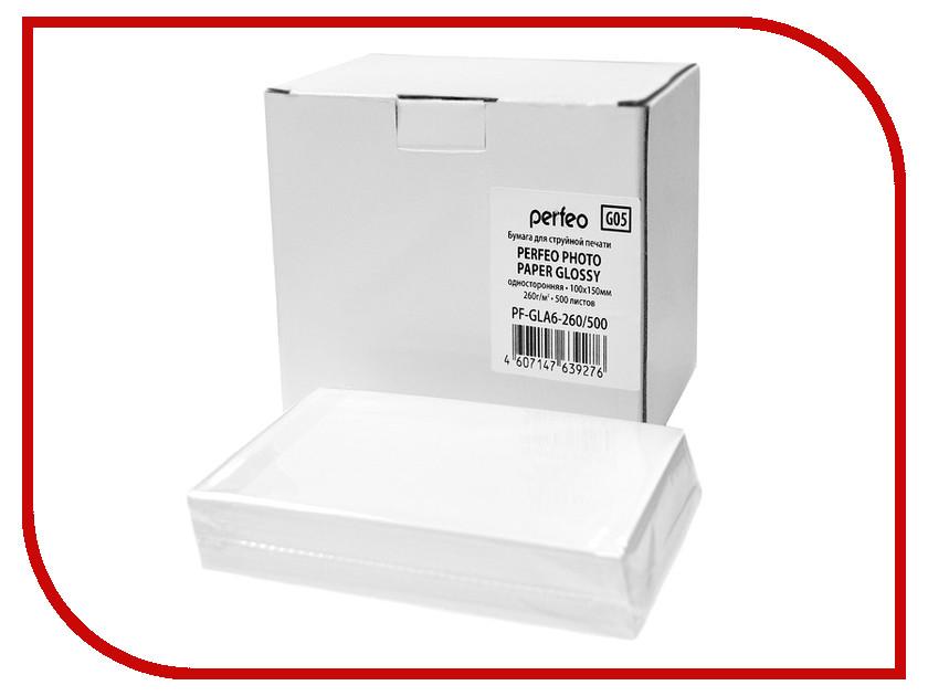 Фотобумага Perfeo PF-GLA6-260/500 10x15 260g/m2 глянцевая 500 листов<br>
