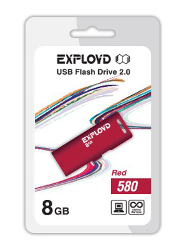 USB Flash Drive 8Gb - Exployd 580 EX-8GB-580-Red