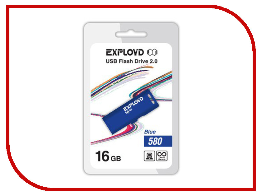 USB Flash Drive 16Gb - Exployd 580 EX-16GB-580-Blue