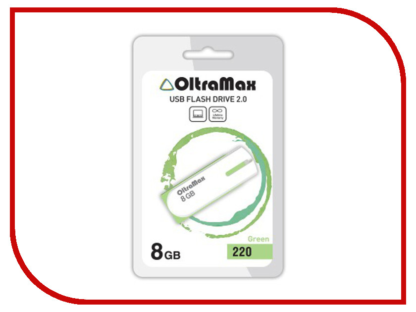 USB Flash Drive 8Gb - OltraMax 220 OM-8GB-220-Green usb flash drive 8gb iconik танк rb tank 8gb