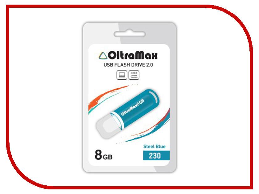 USB Flash Drive 8Gb - OltraMax 230 OM-8GB-230-Steel Blue<br>
