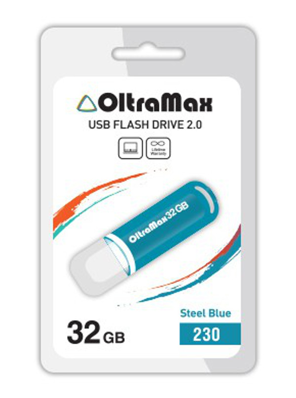 USB Flash Drive 32Gb - OltraMax 230 OM-32GB-230-Steel Blue