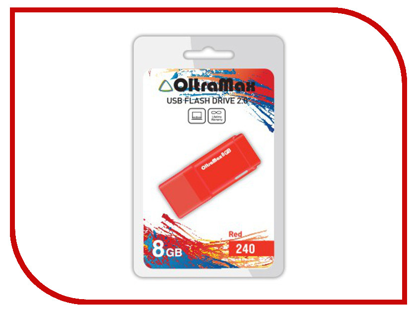 USB Flash Drive 8Gb - OltraMax 240 OM-8GB-240-Red