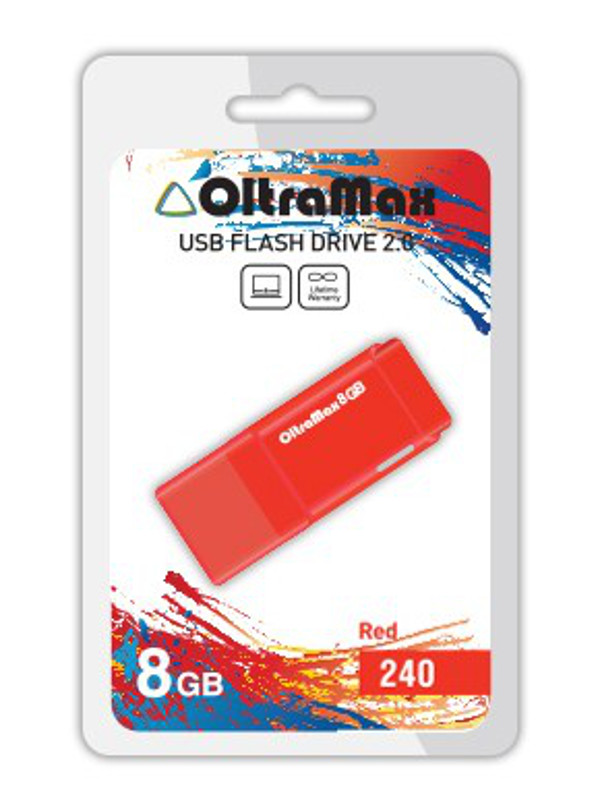 USB Flash Drive 8Gb - OltraMax 240 OM-8GB-240-Red цены