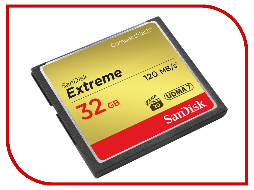 Карта памяти 32Gb - SanDisk Extreme CF 120MB/s - Compact Flash SDCFXSB-032G-G46 карта памяти 16gb sandisk extreme pro cf 160mb s compact flash sdcfxps 016g x46