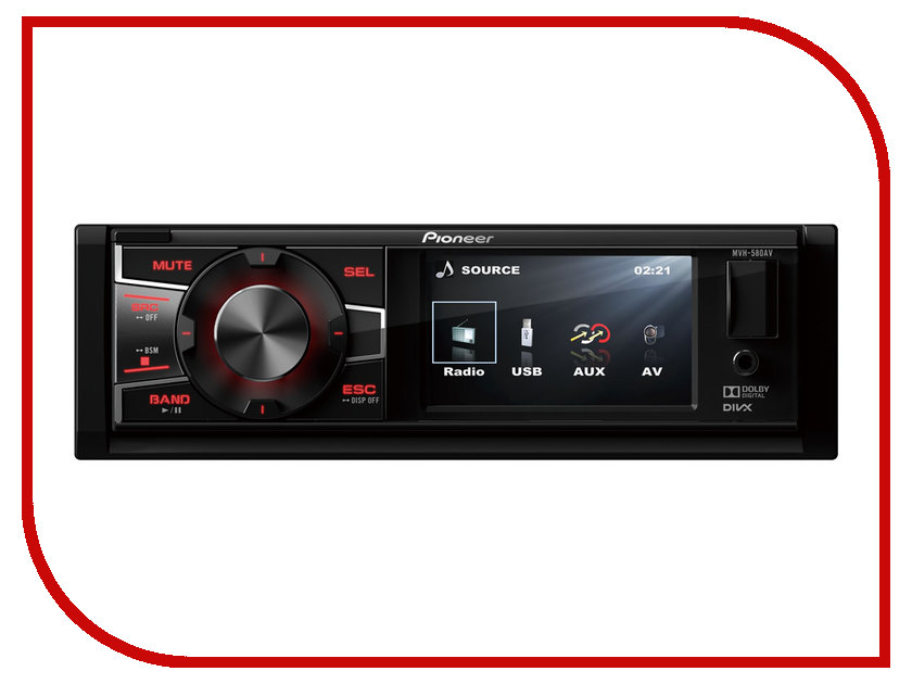 Автомагнитола Pioneer MVH-580AV автомагнитола kenwood kdc bt510u