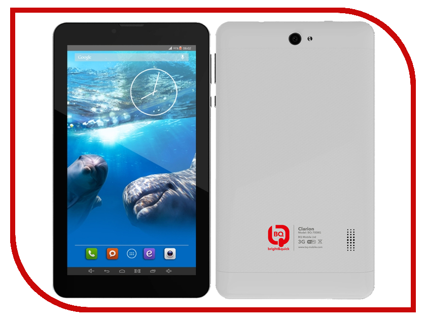 Планшет BQ BQ-7008G CLARION Silver Spreadtrum SC5735 1.2 GHz/512Mb/4Gb/Wi-Fi/3G/Bluetooth/GPS/Cam/7.0/1024x600/Android<br>