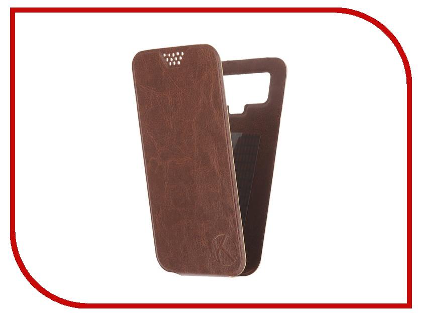 Аксессуар Чехол-флип Krutoff 5.5-6-inch Brown 10716 с вырезом под камеру<br>