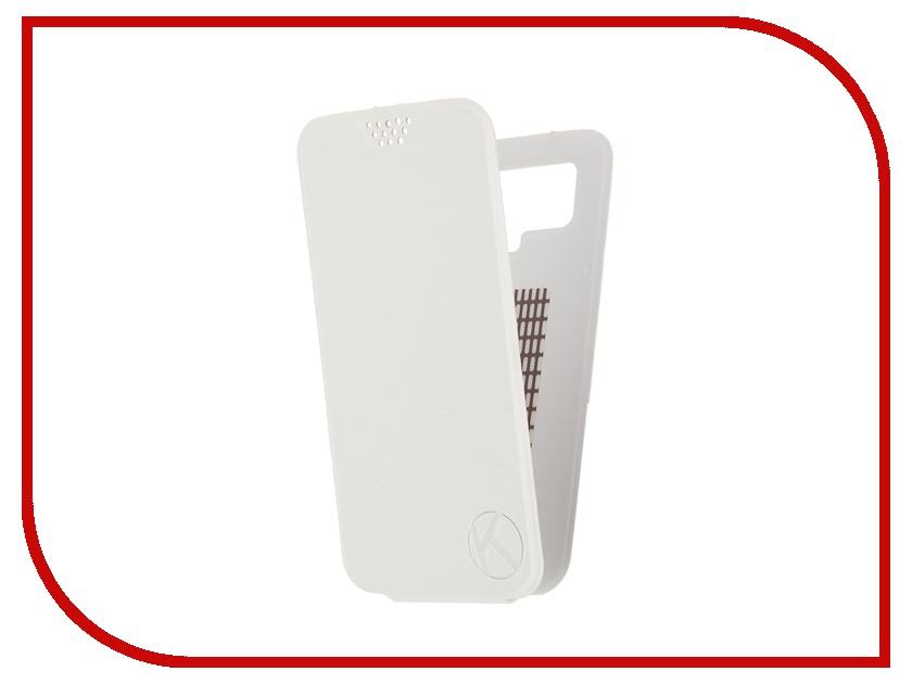 Аксессуар Чехол-флип Krutoff 5.5-6-inch White 10714 с вырезом под камеру<br>