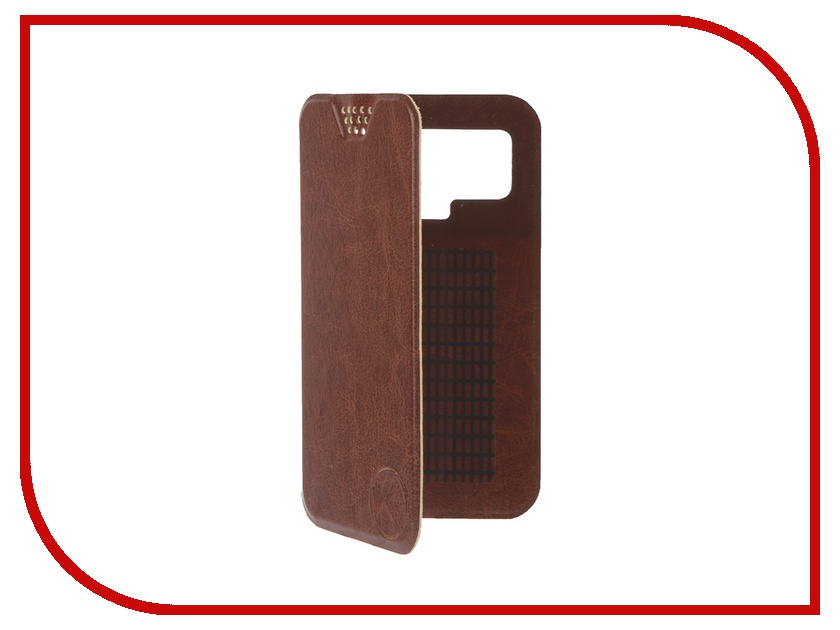 Аксессуар Чехол-книжка Krutoff 4.5-5-inch Brown 10710 с вырезом под камеру<br>