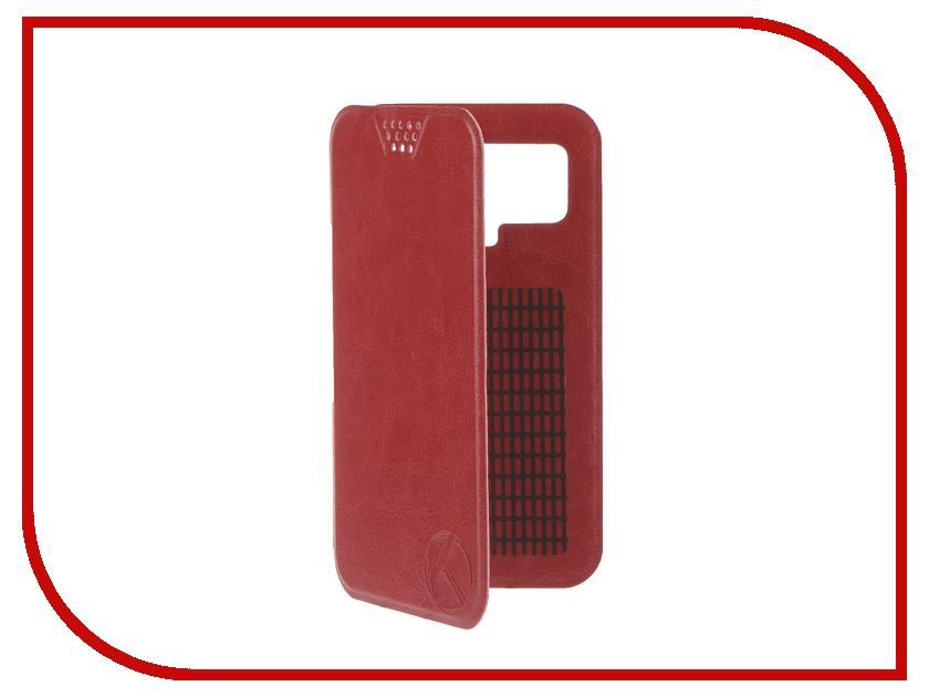 Аксессуар Чехол-книжка Krutoff 4.5-5-inch Red 10709 с вырезом под камеру<br>