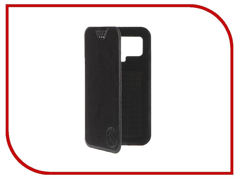 Аксессуар Чехол-книжка Krutoff 4.5-5-inch Black 10707 с вырезом под камеру аксессуар чехол аккумулятор krutoff x4 3800 mah для iphone 6 black 48186