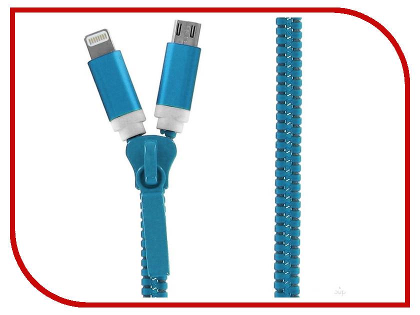 Аксессуар Krutoff USB - MicroUSB + Lightning для iPhone 5/6 Blue 14185<br>