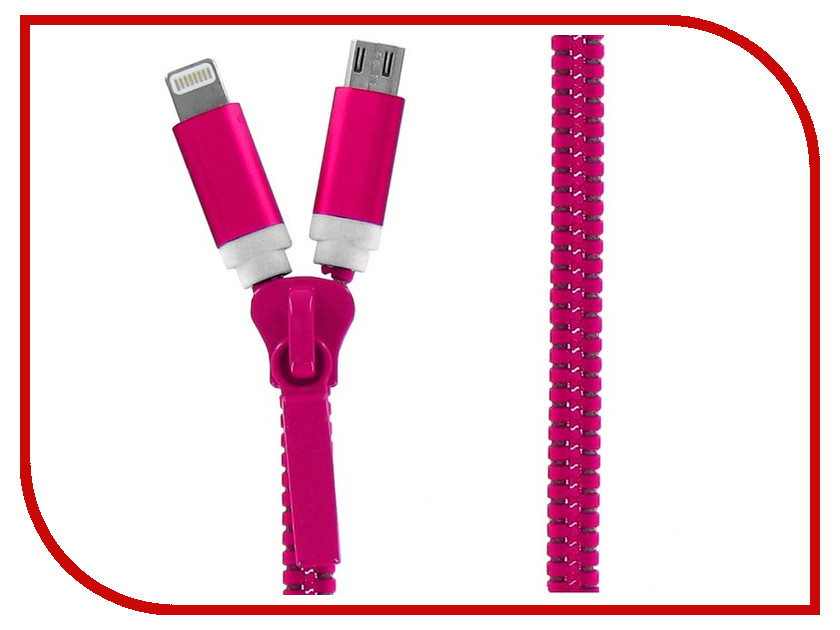 Аксессуар Krutoff USB - MicroUSB + Lightning для iPhone 5/6 Pink 14184<br>