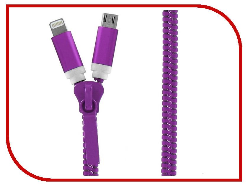 Аксессуар Krutoff USB - MicroUSB + Lightning для iPhone 5/6 Purple 14182<br>