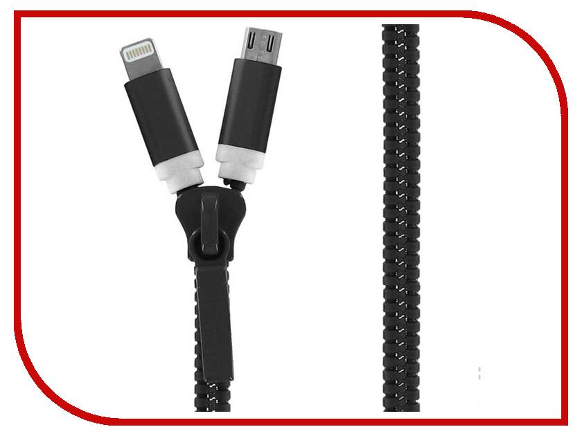 Аксессуар Krutoff USB - MicroUSB + Lightning для iPhone 5/6 Black 14180<br>