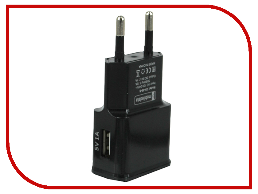 Зарядное устройство Mobiledata CH-05 USB Black сетевое зарядное устройство mobiledata 2a 1 usb белый