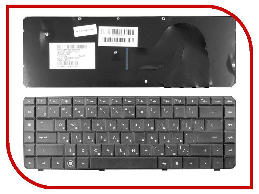 Клавиатура TopON TOP-73413 для HP Compaq Presario CQ62 / G62 / CQ62-200 / CQ62-300 / G56 / CQ56 / G62 Series Black<br>