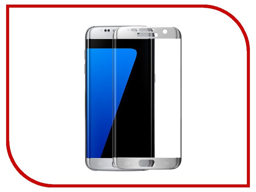 Аксессуар Защитное стекло Samsung Galaxy S7 Edge Full Screen 3D Red Line Tempered Glass Silver godosmith mos401b 0 3mm tempered glass screen guard protector for samsung galaxy s4 transparent