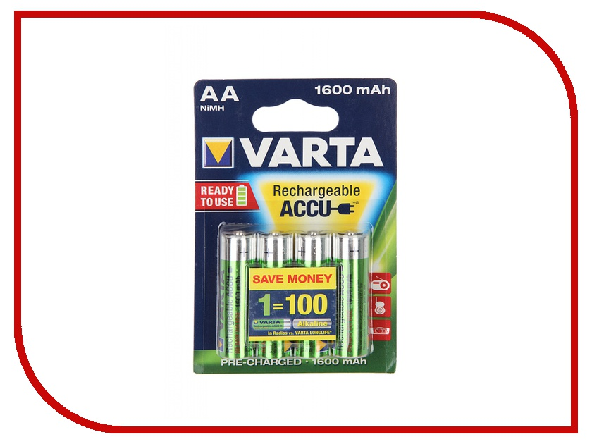 Аккумулятор AA - Varta R6 1600 mAh (4 штуки) аккумулятор для легкового автомобиля varta blue dynamic c22 52ач об