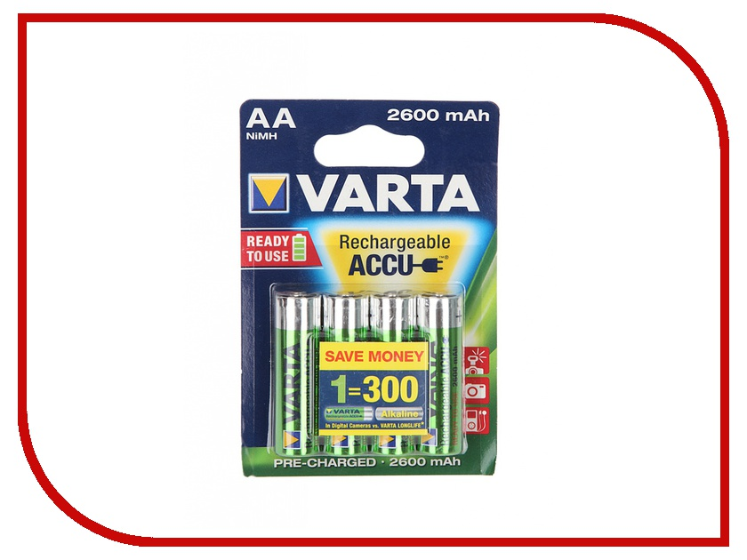 Аккумулятор AA - Varta R6 2600 mAh (4 штуки) аккумулятор для мототехники varta ytx9 4 funstart agm 508012008 8ah рос сух с пакетом электролита