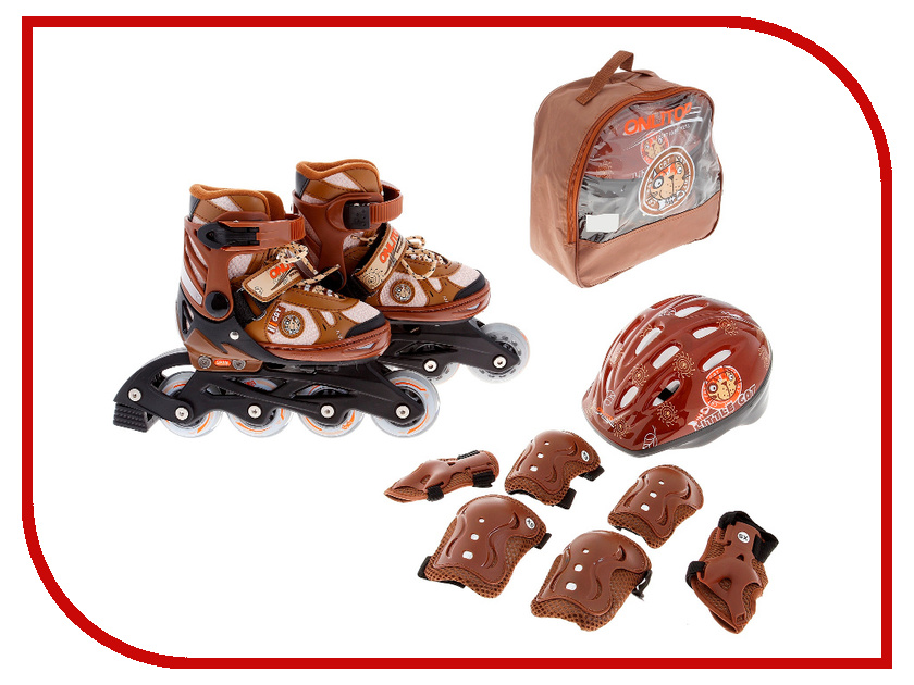 Коньки Onlitop ABEC-5 Brown 35-38 869373 + Защита<br>