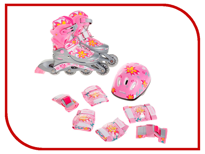 Коньки Onlitop ABEC-5 Pink 34-38 869330 + Защита