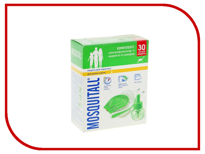 Средство защиты от комаров Mosquitall Защита для взрослых 30 ночей 1112379 - фумигатор + жидкость жидкость для электрофумигатора mosquitall нежная защита от комаров 30 мл без запаха