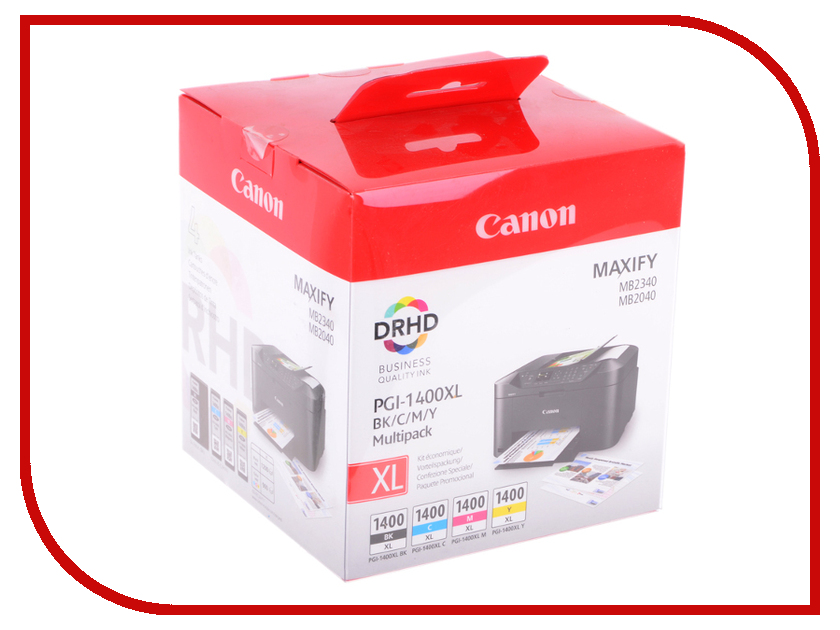 Картридж Canon PGI-1400BK/C/M/Y XL EMB MULTI для MAXIFY МВ2040/МВ2340 9185B004 картридж canon pgi 1400bk c m y xl 9185b004 набор для canon maxify мв2040 2340 черный голубой пурпурный желтый