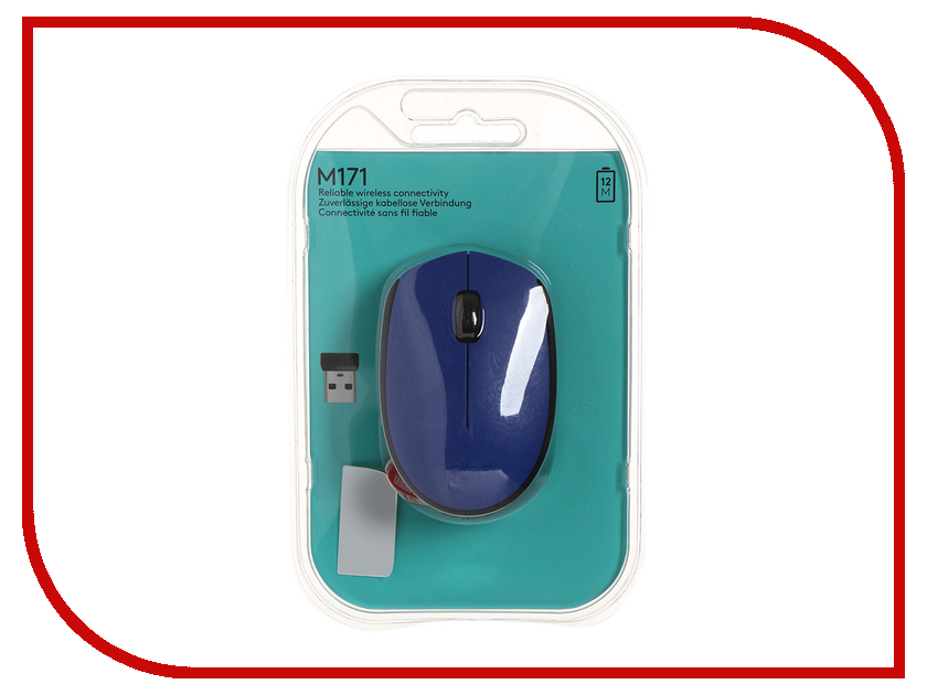 Мышь Logitech M171 Wireless Blue-Black 910-004640 мышь logitech m171 wireless red usb 910 004641
