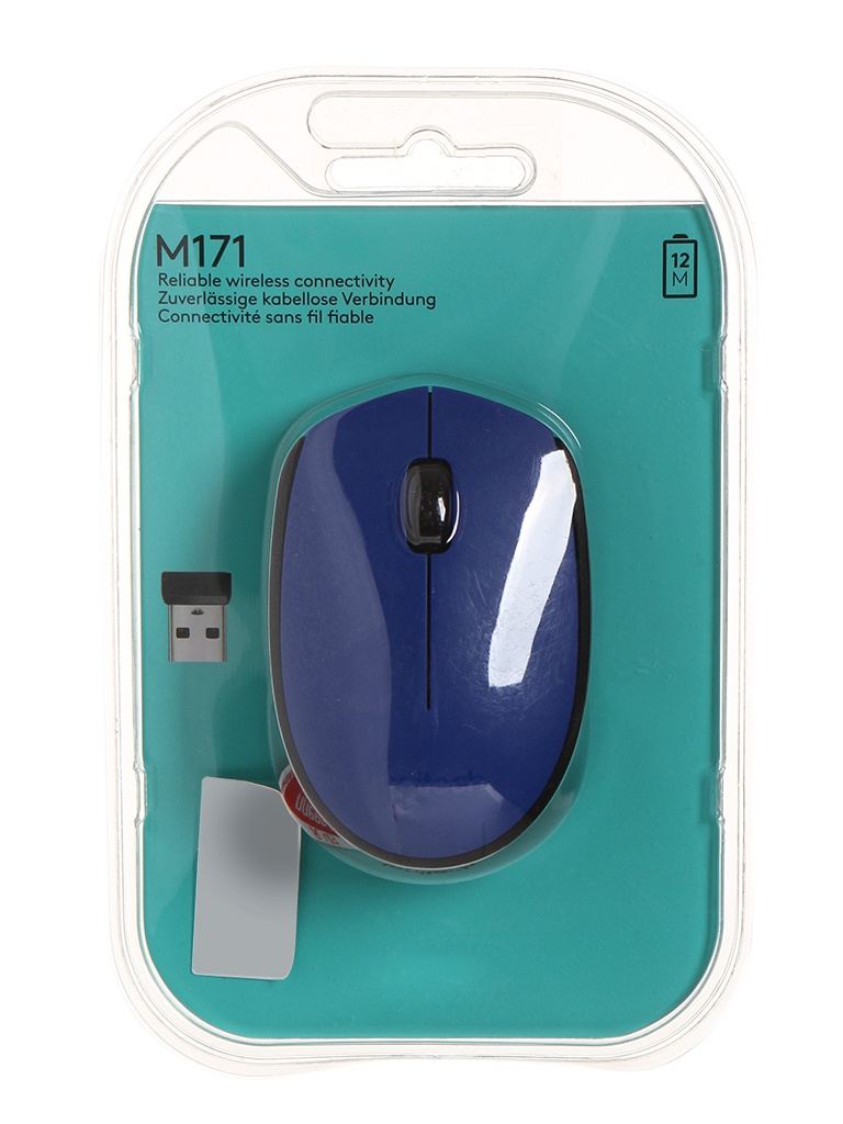 Мышь Logitech M171 Wireless Blue-Black 910-004640