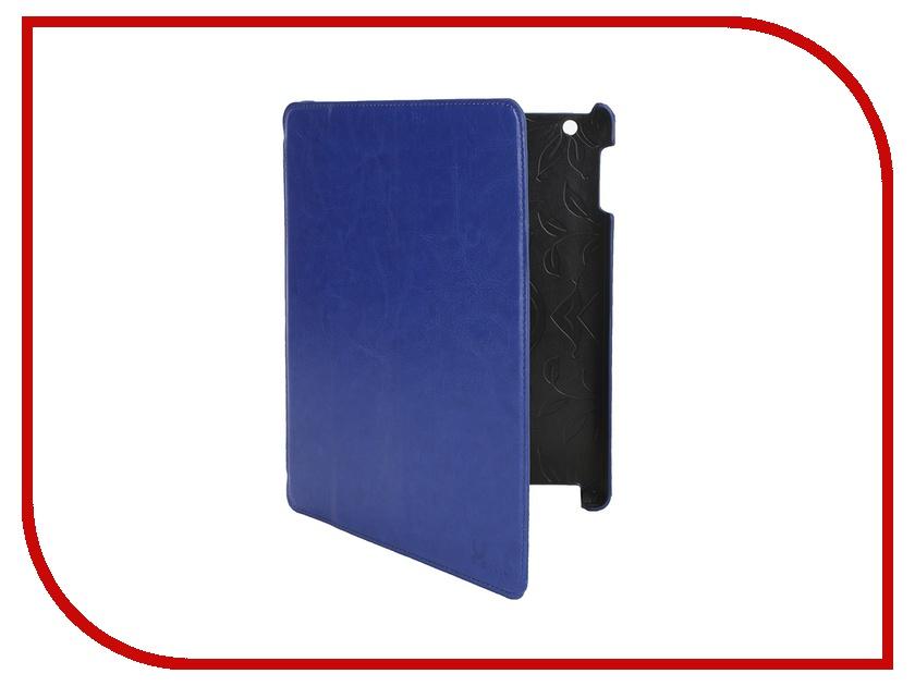 Аксессуар Чехол LuxCase Premium для iPad 2/3/4 Гладкая кожа Blue 10369
