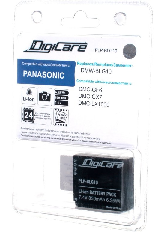 Аккумулятор DigiCare PLP-BLG10 (схожий с Panasonic DMW-BLG10) аккумулятор digicare plp vbt190 vw vbt190 для hc v160 180 260 270 380 vx980 vxf990 w580 wx970