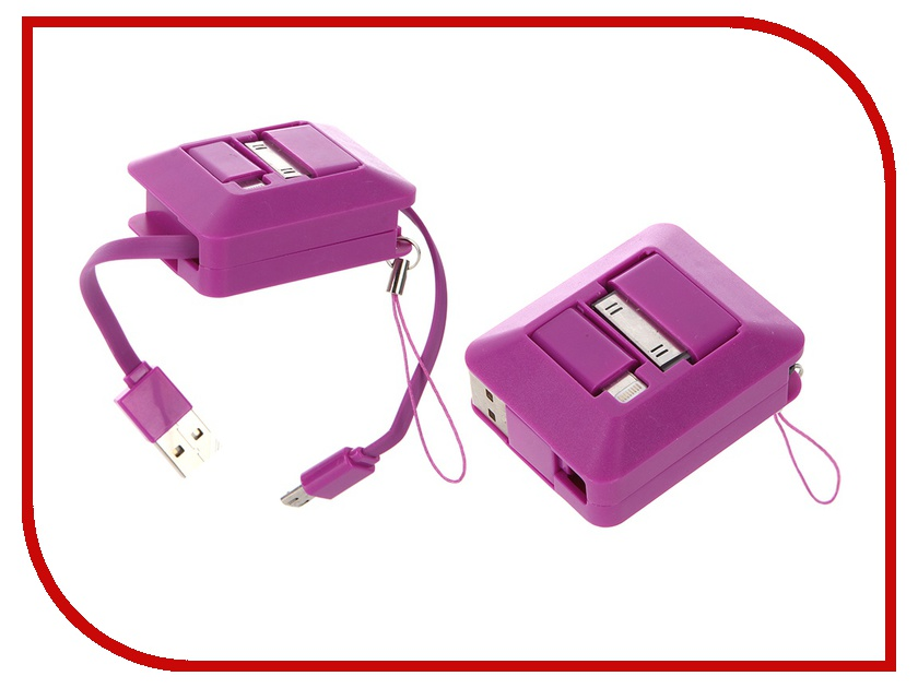 Аксессуар Melkin TCU SL-01 USB - Lightning/30-pin/MicroUSB Violet 58463<br>