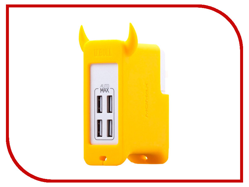 Зарядное устройство MOMAX U.Bull 4-ports USB Yellow<br>