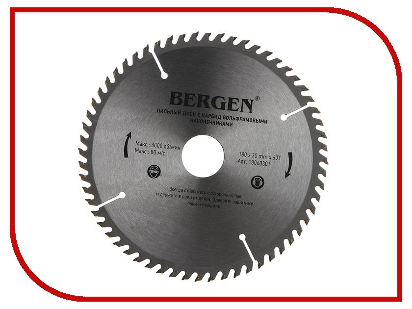 Диск BERGEN 180x60Tx30/20mm 18060301 пильный, по дереву, ДСП, ДВП и МДФ