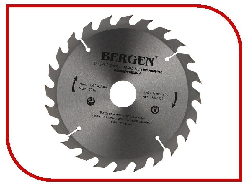 Диск BERGEN 190x24Tx32/30mm 19024321 пильный, по дереву, ДСП, ДВП и МДФ<br>