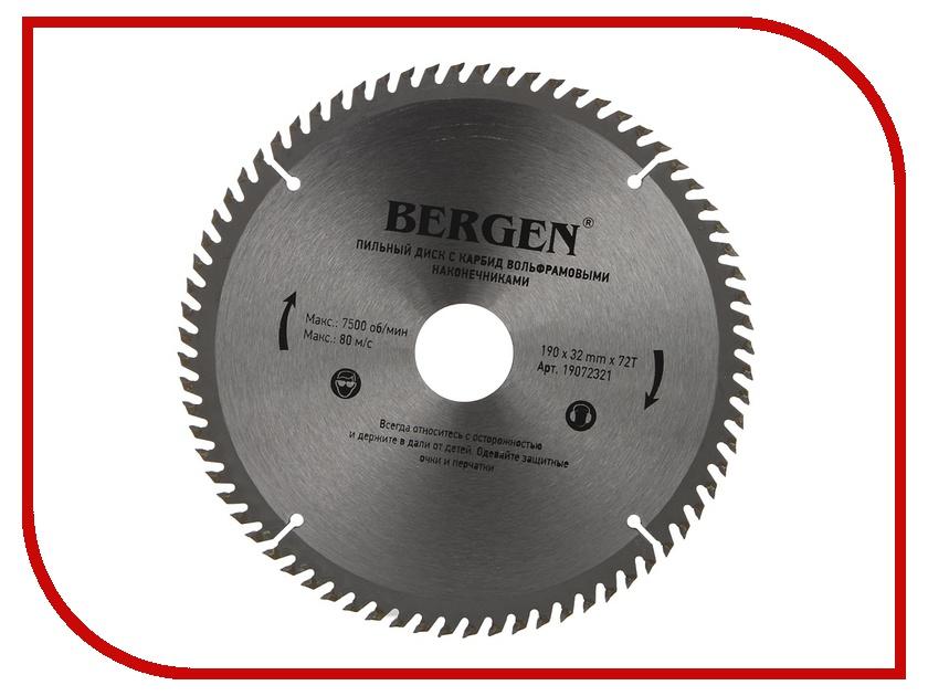 Диск BERGEN 190x72Tx32/30mm 19072321 пильный, по дереву, ДСП, ДВП и МДФ<br>