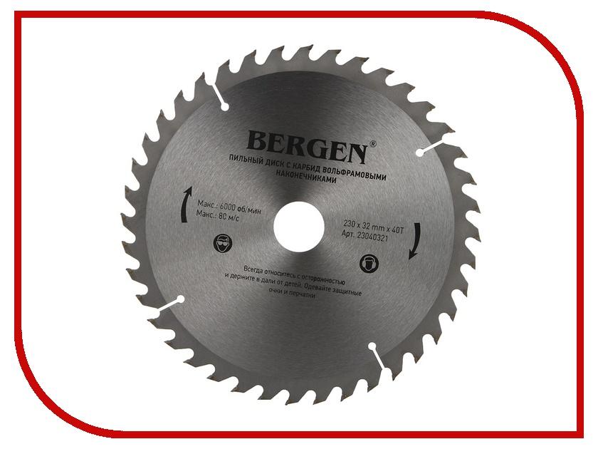 Диск BERGEN 230x40Tx32/30mm 23040321 пильный, по дереву, ДСП, ДВП и МДФ<br>