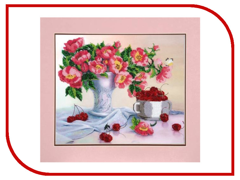 Набор для творчества Hobby&Pro Цветы с черешней для вышивания бисером БН-3095 канва с рисунком для вышивания бисером hobby
