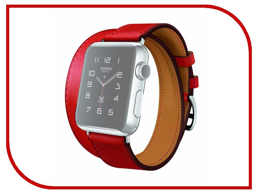 Аксессуар Комплект ремешков APPLE Watch 42mm ROCK Genuine Leather Watch Strap Red<br>