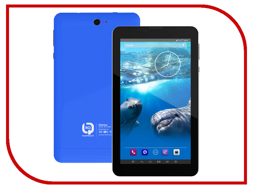 Планшет BQ BQ-7008G CLARION Blue Spreadtrum SC5735 1.2 GHz/512Mb/4Gb/Wi-Fi/3G/Bluetooth/GPS/Cam/7.0/1024x600/Android<br>