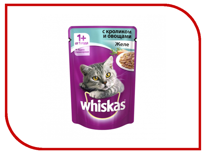 Корм Whiskas Пауч Желе кролик с овощами 85g 10137272 whiskas temptations hearty beef flavour treats for cats