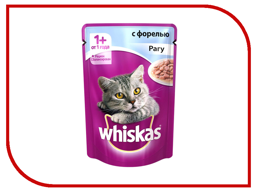Корм Whiskas Пауч Рагу с форелью 85g 10137260 whiskas temptations hearty beef flavour treats for cats