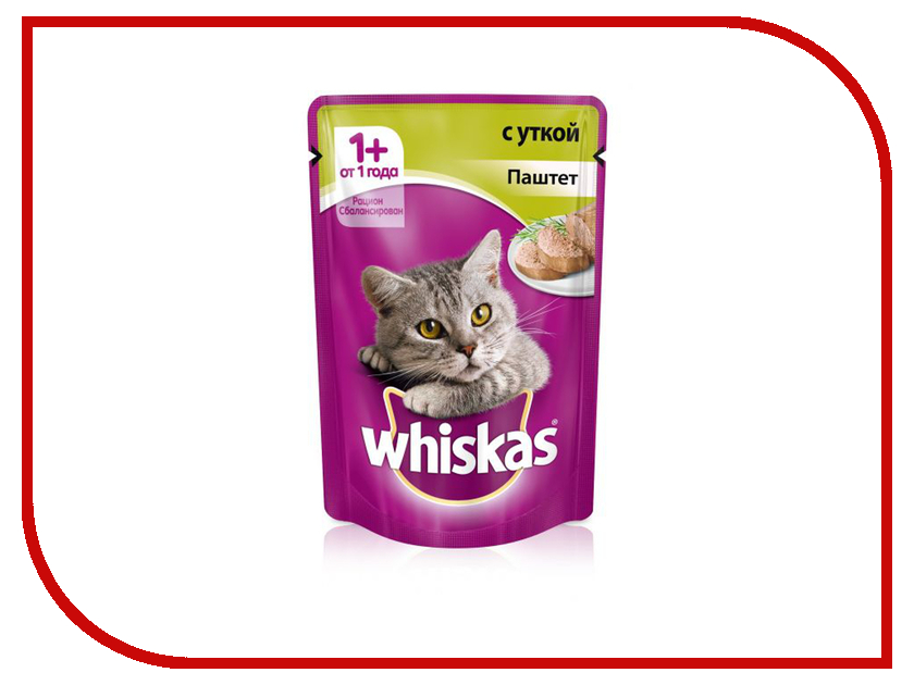 Корм Whiskas Пауч Паштет с уткой 85g 10149167 whiskas temptations hearty beef flavour treats for cats