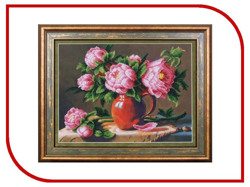 Набор для творчества Магия канвы Розовые пионы для вышивания бисером Б-054
